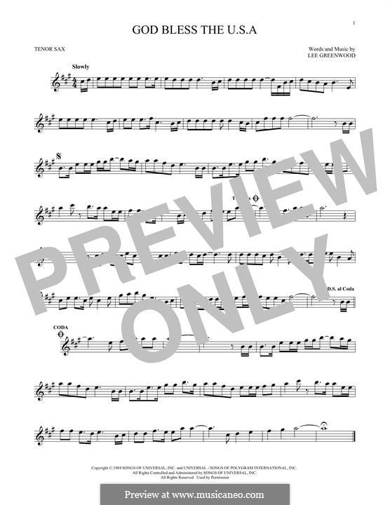 God Bless the U.S.A.: Для тенорового саксофона by Lee Greenwood