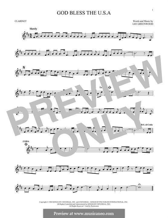 God Bless the U.S.A.: Для кларнета by Lee Greenwood