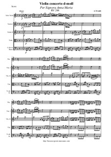 Concerto for Violin and Orchestra in D Minor 'Per Signora Anna Maria', RV 248: Score and all parts by Антонио Вивальди