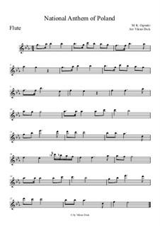 Государственный Гимн Польши: Для флейты by Михаил Клеофас Огинский