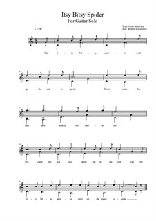 Itsy Bitsy Spider: For guitar solo (C Major) by folklore