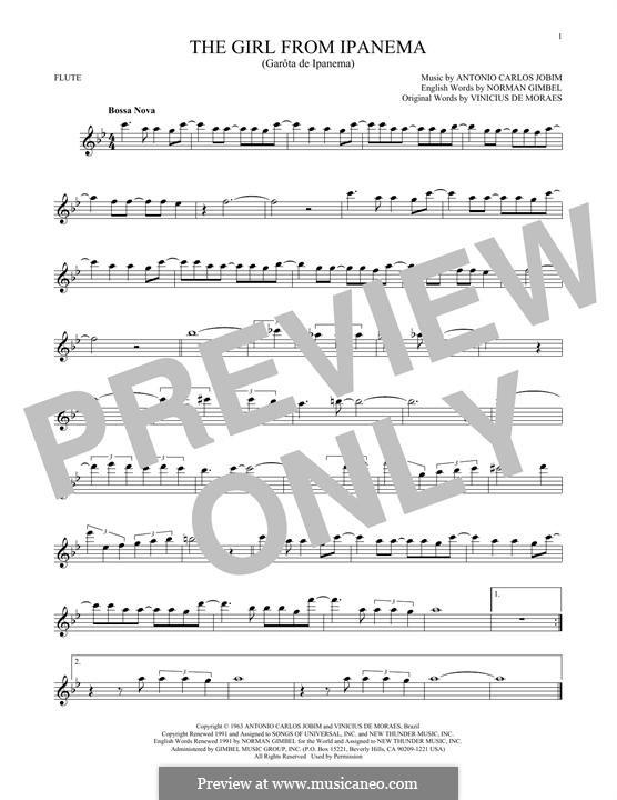 The Girl from Ipanema (Garota de Ipanema): Для флейты by Antonio Carlos Jobim