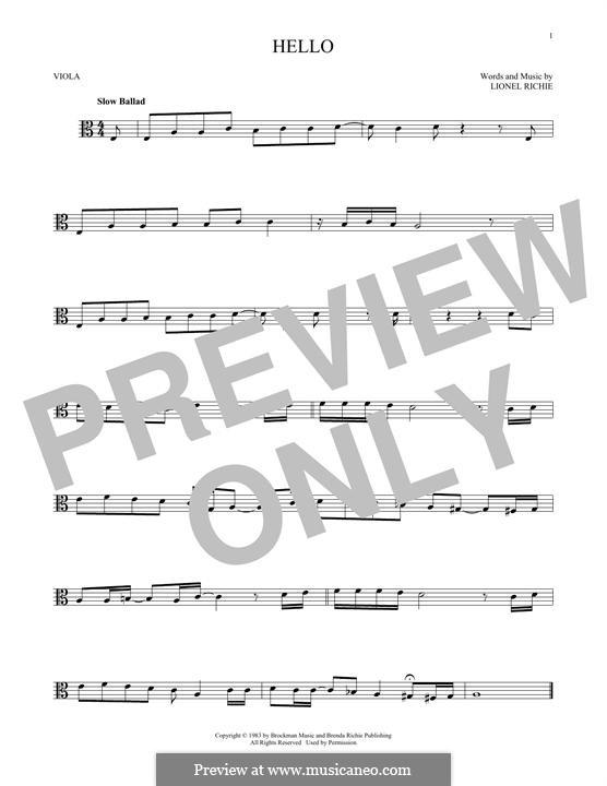 Hello: For viola by Lionel Richie