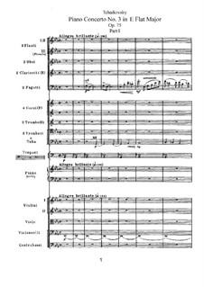 Концерт для фортепиано с оркестром No.3 ми-бемоль мажжор, TH 65 Op.75: Часть I by Петр Чайковский