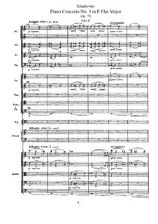 Концерт для фортепиано с оркестром No.3 ми-бемоль мажжор, TH 65 Op.75: Часть II by Петр Чайковский