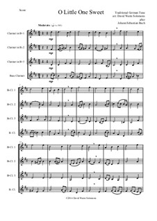 O Little One Sweet: For clarinet quartet (3 B flats and 1 bass) by folklore