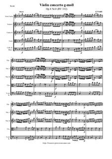 Концерт для скрипки с оркестром No.8 соль минор, RV 332: Партитура и партии by Антонио Вивальди