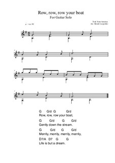 Row, Row, Row Your Boat: For guitar solo (very easy version) G Major by folklore