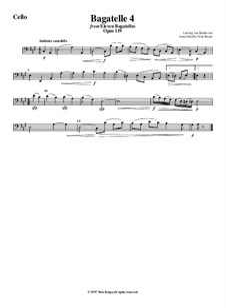 Одиннадцать новых багателей для фортепиано, Op.119: Bagatelle No.4, for string orchestra - cello part by Людвиг ван Бетховен