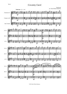Coventry Carol: For clarinet trio (E flat, B flat, alto) by folklore