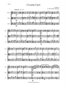 Coventry Carol: For string trio (violin, viola, cello) by folklore