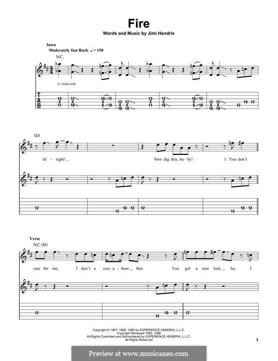 Fire: Гитарная табулатура by Jimi Hendrix