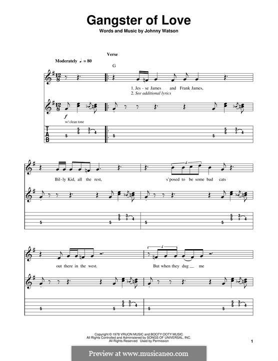 Gangster of Love: Гитарная табулатура by Johnny Watson