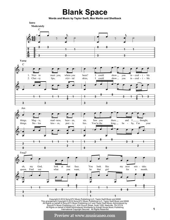 Blank Space: Гитарная табулатура by Shellback, Max Martin, Taylor Swift