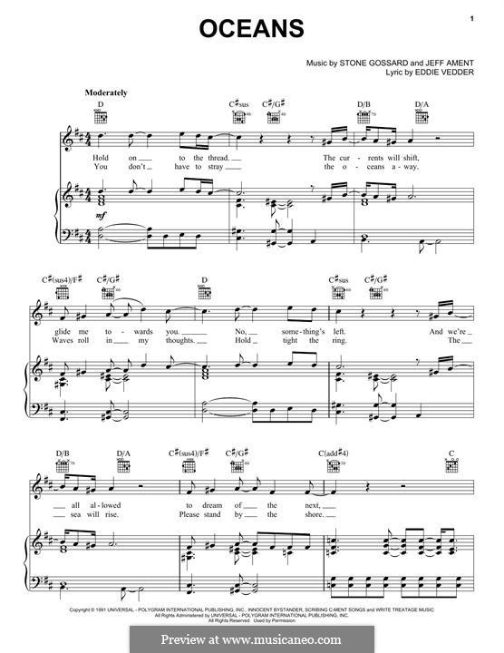 Oceans (Pearl Jam): Для голоса и фортепиано (или гитары) by Jeff Ament, Stone Gossard