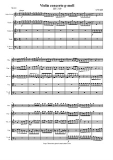 Concerto for Violin and Strings in G Minor, RV 319: Score and parts by Антонио Вивальди