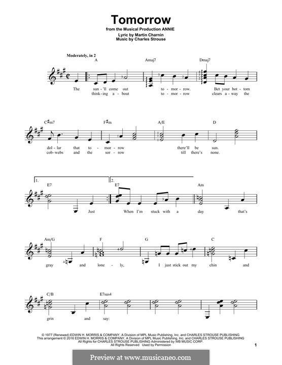 Tomorrow (from Annie): Гитарная табулатура by Charles Strouse