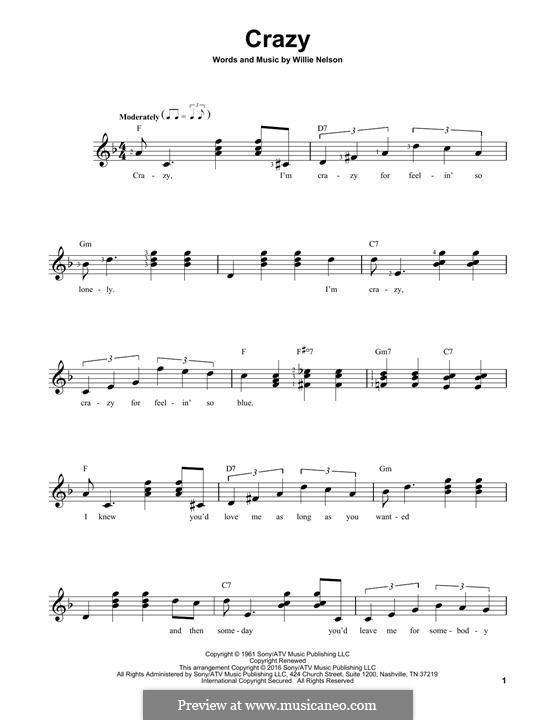 Crazy (Patsy Cline): Гитарная табулатура by Willie Nelson
