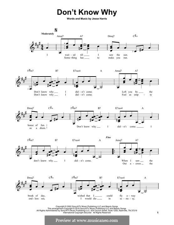 Don't Know Why (Norah Jones): Гитарная табулатура by Jesse Harris