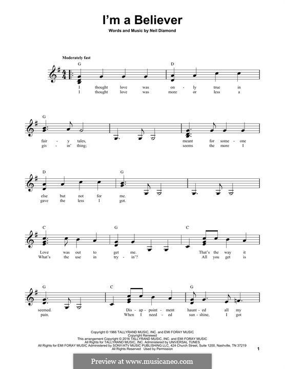 I'm a Believer: Гитарная табулатура by Neil Diamond
