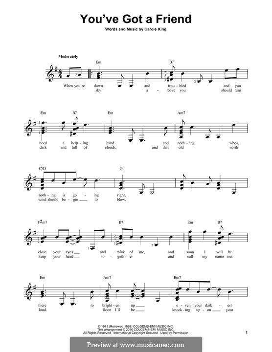 You've Got a Friend: Гитарная табулатура by Carole King