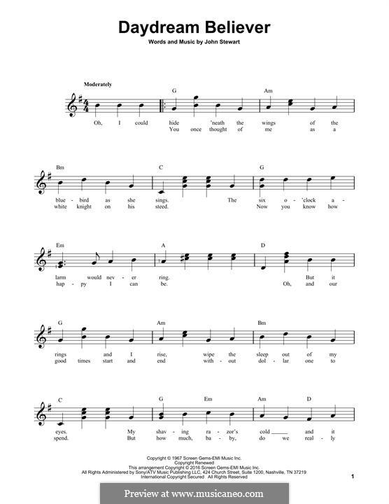 Daydream Believer (The Monkees): Гитарная табулатура by John Stewart