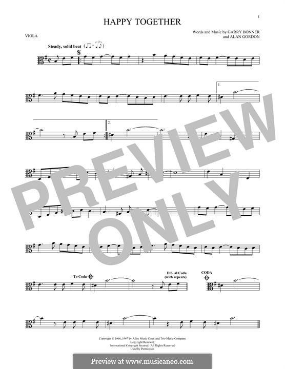 Happy Together (The Turtles): For viola by Alan Gordon, Garry Bonner