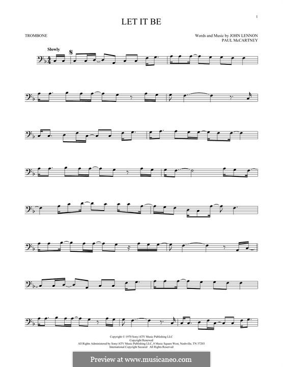 Let it Be (The Beatles): For trombone by John Lennon, Paul McCartney
