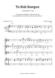 Tu Ridi Sempre: SAT voices by Клаудио Монтеверди