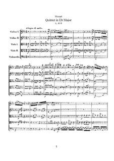 Струнный квинтет No.6 ми-бемоль мажор, K.614: Партитура by Вольфганг Амадей Моцарт