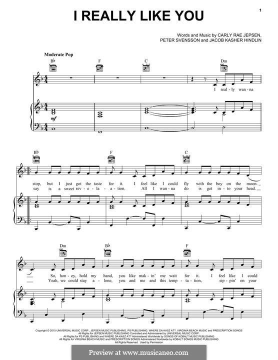 I Really Like You: Для голоса и фортепиано (или гитары) by Jacob Kasher Hindlin, Peter Svensson, Carly Rae Jepsen