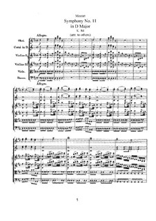 Симфония No.11 ре мажор, K.84: Симфония No.11 ре мажор by Вольфганг Амадей Моцарт
