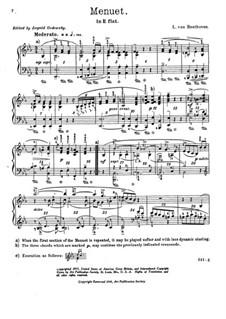 Менуэт ми-бемоль мажор, WoO 82: Для фортепиано (с аппликатурой) by Людвиг ван Бетховен