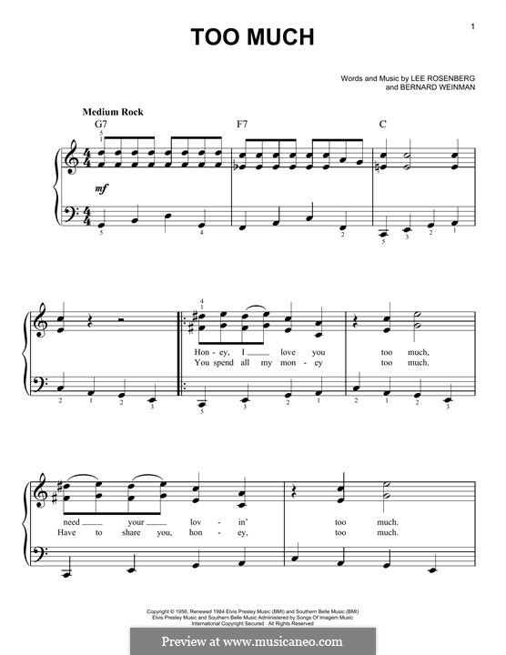 Too Much (Elvis Presley): Для фортепиано by Bernard Weinman, Lee Rosenberg