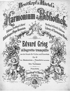 Соната для скрипки и фортепиано No.2 соль мажор, Op.13: Часть II. Версия для фортепиано by Эдвард Григ