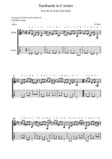 Сюита для виолончели No.5 до минор, BWV 1011: Sarabande, for guitar by Иоганн Себастьян Бах