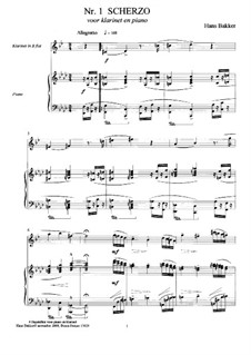 Four Bagatelles for clarinet and piano: Four Bagatelles for clarinet and piano by Hans Bakker