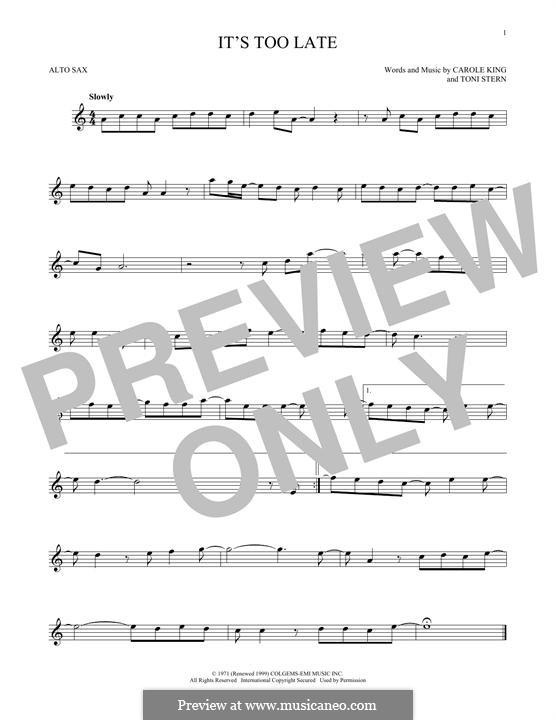 It's Too Late: Для альтового саксофона by Carole King