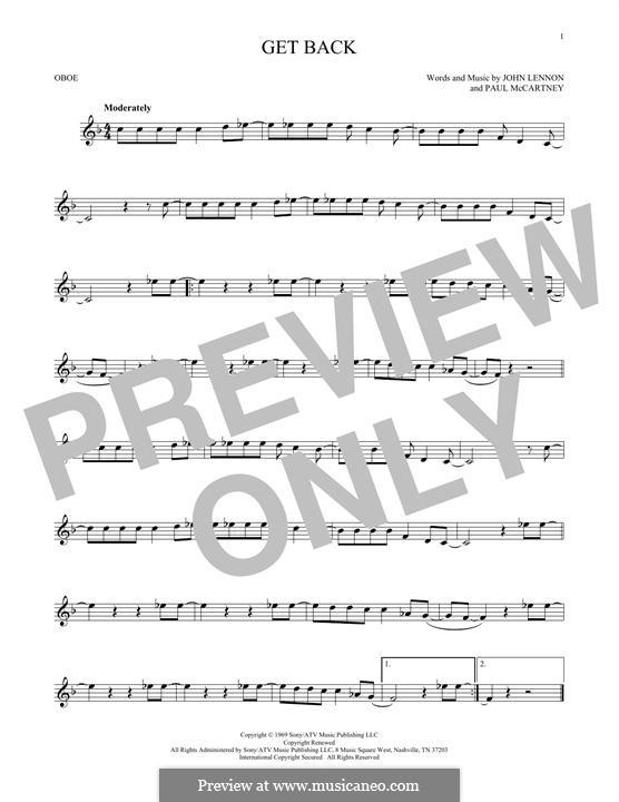Get Back (The Beatles): For oboe by John Lennon, Paul McCartney