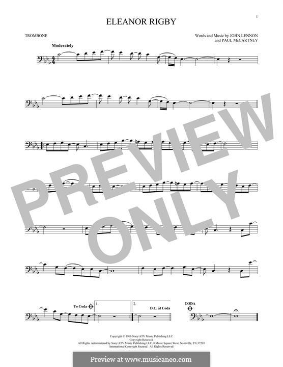 Eleanor Rigby (The Beatles): For trombone by John Lennon, Paul McCartney