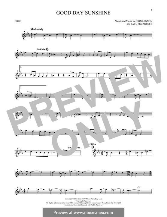 Good Day Sunshine (The Beatles): For oboe by John Lennon, Paul McCartney