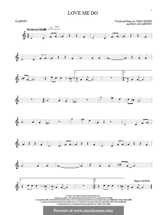 Love Me Do (The Beatles): Для кларнета by John Lennon, Paul McCartney