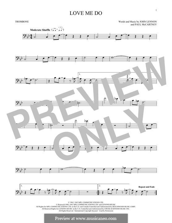 Love Me Do (The Beatles): For trombone by John Lennon, Paul McCartney