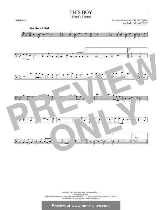 This Boy (Ringo's Theme): For trombone by John Lennon, Paul McCartney