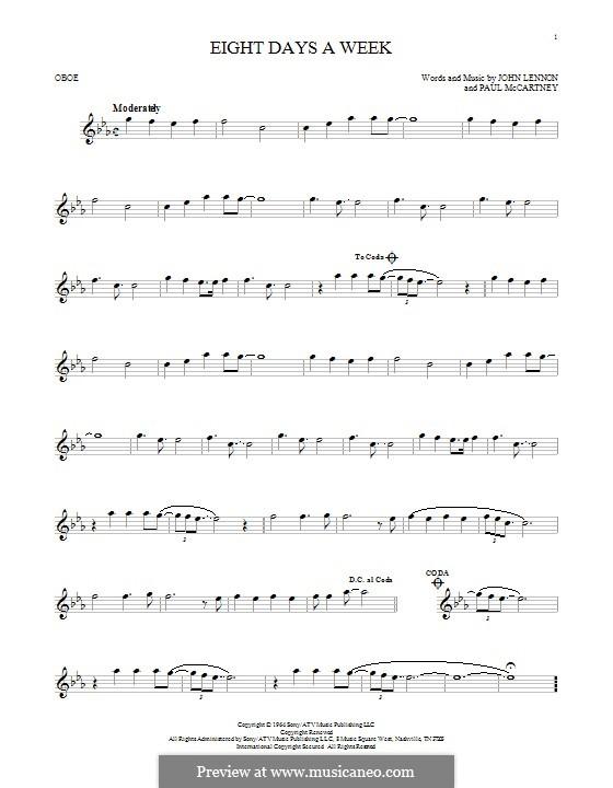 Eight Days a Week (The Beatles): For oboe by John Lennon, Paul McCartney