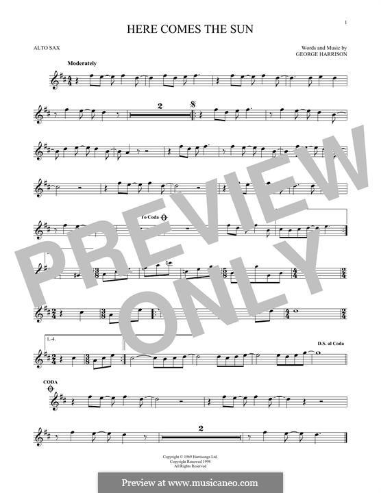 Here Comes the Sun (The Beatles): Для альтового саксофона by George Harrison