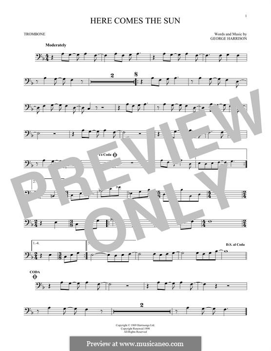 Here Comes the Sun (The Beatles): For trombone by George Harrison