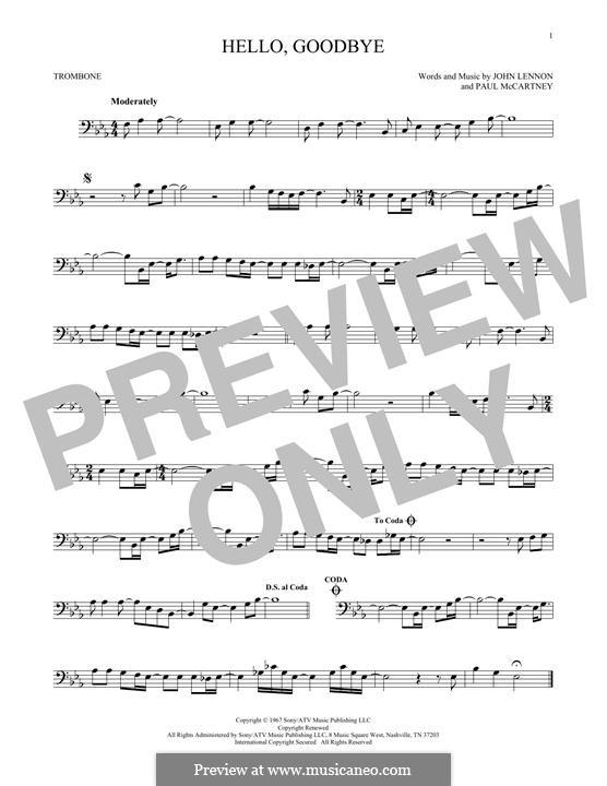 Hello, Goodbye (The Beatles): For trombone by John Lennon, Paul McCartney