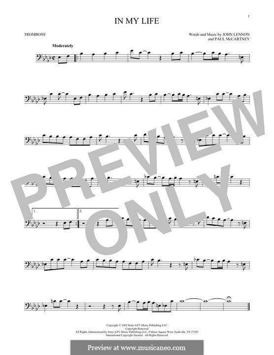 In My Life (The Beatles): For trombone by John Lennon, Paul McCartney