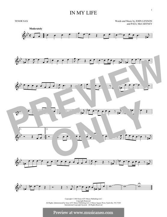 In My Life (The Beatles): Для тенорового саксофона by John Lennon, Paul McCartney